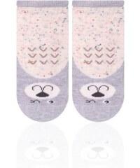 STEVEN Dětské ponožky s medvídkem - béžovo-šedé