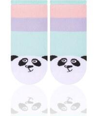 STEVEN Dětské ponožky pruhované s pandou - světle zelené