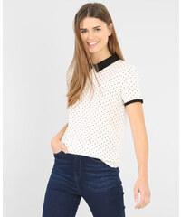 T-shirt imprimé col claudine blanc cassé, Femme, Taille L -PIMKIE- MODE FEMME