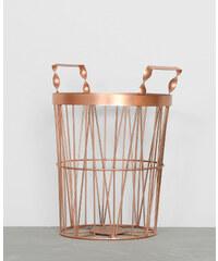 Corbeille métallique - coloris cuivré - hauteur 25,5 cm - diamètre 17,5 cm - PIMKIE, Décoration d'intérieur