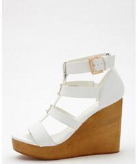 Sandales multibrides compensées blanc, Femme, Taille 37 -PIMKIE- MODE FEMME