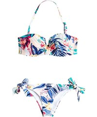 plavky ROXY - Bandeau/Knotted Surfer Canary Islands Flora Combo Whi (WBB6)