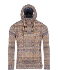 CRSM Béžový pletený svetr s kapucí