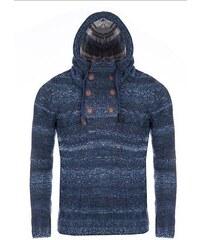CRSM Tmavě modrý pletený svetr s kapucí