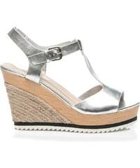 FOREVER FOLIE Módní sandály espadrilky stříbrné