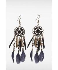 Boucles d'oreilles avec plumes Noir Metal - Femme Taille TU - Bonobo