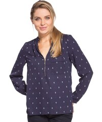 Blouse motif multicolore col zippé Bleu Polyester - Femme Taille 0 - Cache Cache