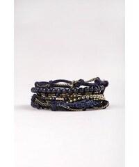 Bracelet femme multirangs perles liens Bleu Acrylique - Femme Taille TU - Bonobo