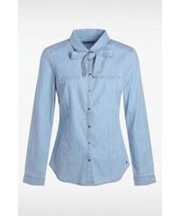 Chemise femme cintrée unie noeud Bleu Coton - Femme Taille L - Bonobo