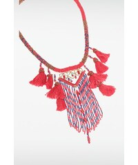 Collier femme ethnique perles pompons Rouge - Femme Taille TU - Bonobo