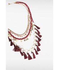 Collier fantaisie perles et pompons Rouge Metal - Femme Taille TU - Bonobo