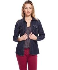Chemise en jean cintrée used Bleu Coton - Femme Taille 0 - Cache Cache