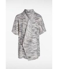 Gilet femme maille moulinée bicolore Blanc Coton - Femme Taille L - Bonobo