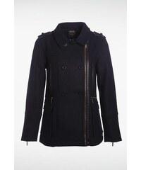 Manteau femme officier zip asymétrique Bleu Coton - Femme Taille L - Bonobo