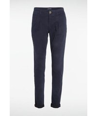 Pantalon femme chino uni revers Bleu Coton - Femme Taille 34 - Bonobo