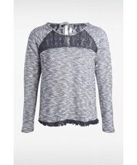 Sweatshirt femme maille et dentelle Bleu Coton - Femme Taille L - Bonobo
