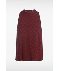 Top femme motif ethnique bicolore Rouge Viscose - Femme Taille L - Bonobo