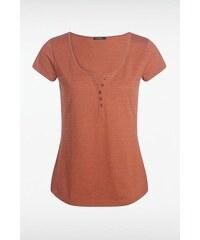 T-shirt femme basique col boutonné Orange Coton - Femme Taille L - Bonobo