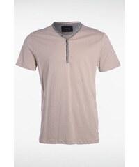 T-shirt homme détail contrasté col Beige Coton - Homme Taille S - Bonobo