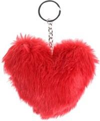Porte-clé forme coeur fourrure Rouge Polyester - Femme Taille T.U - Cache Cache