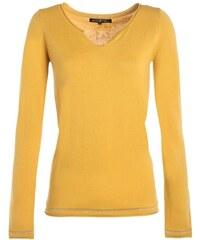 Pull ajusté col rond détails strass Jaune Coton - Femme Taille 0 - Cache Cache