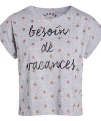 T-shirt manches courtes print vacances Gris Viscose - Femme Taille 0 - Cache Cache