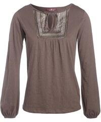 T-shirt plastron esprit folk Vert Coton - Femme Taille 0 - Cache Cache