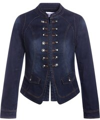 Veste officier denim boutonnée poches Bleu Polyester - Femme Taille 1 - Cache Cache