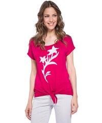 T-shirt motif fleurs sequins Rouge Viscose - Femme Taille 1 - Bréal