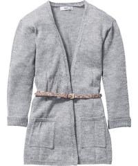 bpc bonprix collection Strickcardigan mit Taschen und Gürtel, Gr. 116/122-164/170 langarm in grau für Mädchen von bonprix