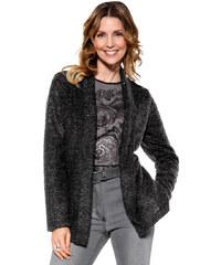 Buklé kabát MONA antracitová-stříbrná