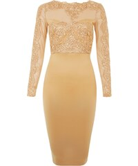 New Look Ax Paris - Robe moulante mi-longue en dentelle camel