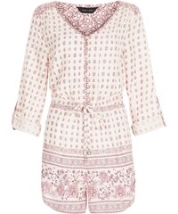 New Look Cremefarbener Playsuit mit Kachelmuster