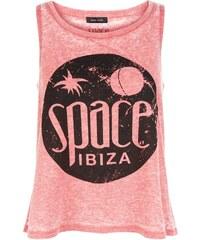 New Look Débardeur trapèze rouge à effet de transparence inscription Space Ibiza
