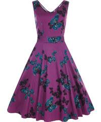Retro šaty Lady V London Charlotte Purple Butterfly