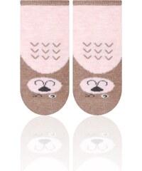 STEVEN Dětské ponožky s medvídkem - hnědo-lososové