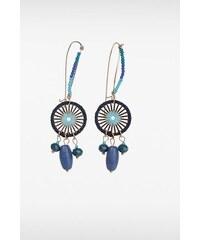 Boucles d'oreilles roue et perles Bleu Metal - Femme Taille TU - Bonobo