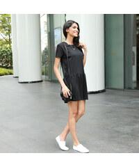 Lesara T-Shirt-Kleid mit Faltenrock - Schwarz - S
