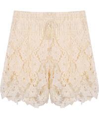 Lesara Shorts mit floralem Häkel-Überwurf - Beige - S