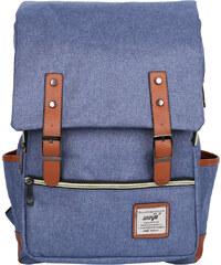 Lesara Canvas-Rucksack mit Schnallenriemen - Blau