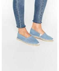 Pieces - Haisha - Flache Espadrille-Schuhe aus jeansblauem Chambray - Blau