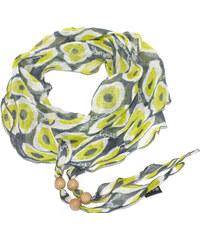 Guess dámský lněný šátek s korálky GREEN