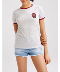 tee-shirt bicolore à patch gris chiné et bordeaux Jennyfer