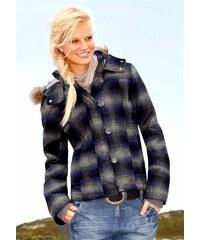 Vlněná bunda s kapucí a kožíškem AJC 36 šedá