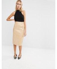 Fashion Union - Jupe mi-longue vernie - Fauve