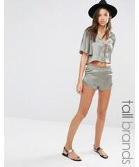 Glamorous Tall - Shorts aus Satin mit Kordelzug, Kombiteil - Grün