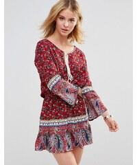 Style London - Robe à ourlet volanté - Rouge