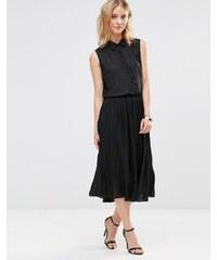Style London - Robe droite mi-longue avec jupe plissée - Noir