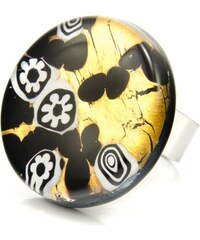 Murano Prsten skleněný kulatý - černá, zlatá, bílá - Elisa