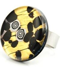 Murano Prsten skleněný kulatý - černá, zlatá - Elisa
